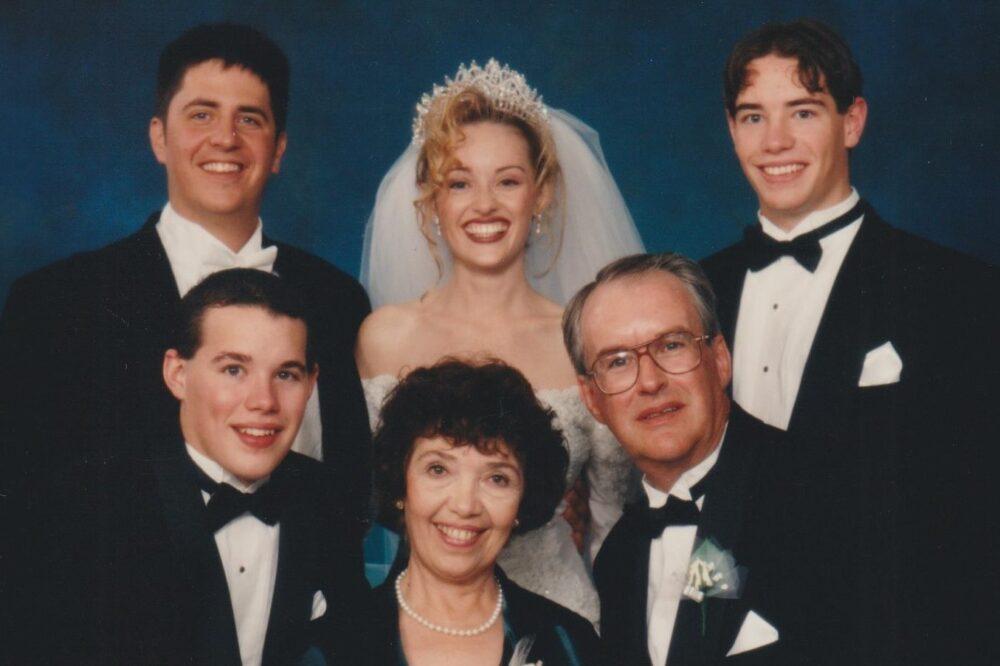 Wedding photo: clockwise Virginia Cyr, Jason Cyr, Corbet Whiting, Michelle Cyr-Whiting, Stephen Cyr, Roger Cyr.